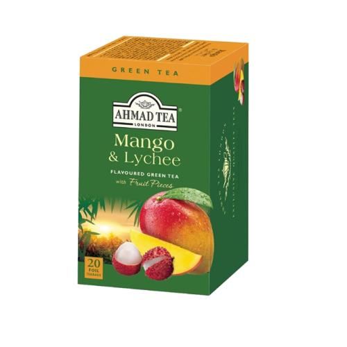 """ЗЕЛЕН Чай AHMAD GREEN TEA WITH MANGO & LYCHEE """"Зелен чай с манго и личи"""" 20бр."""