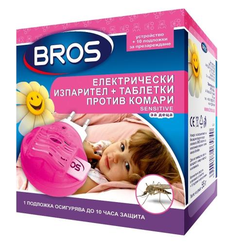 BROS Електрически изпарител против комари за деца + 10бр. таблетки