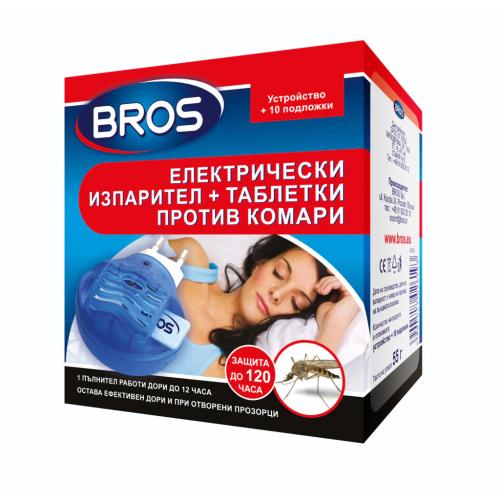 BROS Електрически изпарител против комари + 10бр. таблетки